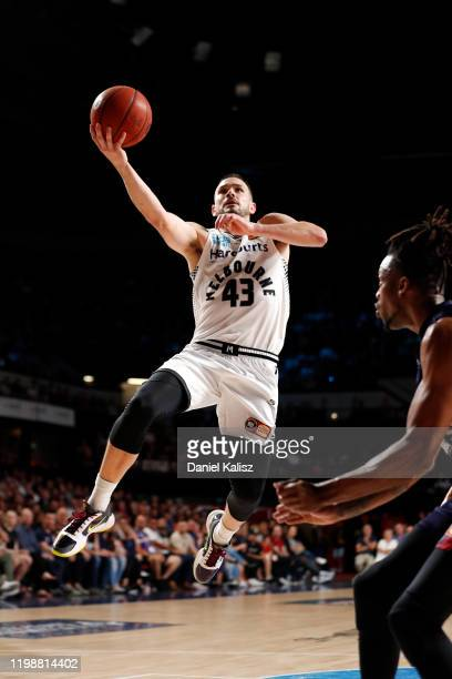Chris Goulding of Melbourne United drives to the basket during the round 15 NBL match between the Adelaide 36ers and Melbourne United at Adelaide...