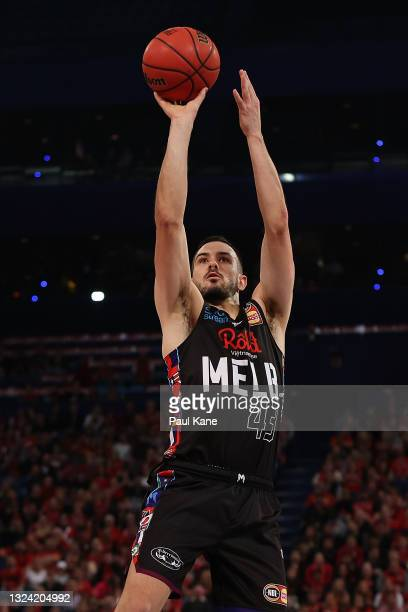 Chris Goulding of Melbourne United puts a shot up during game one of the NBL Grand Final Series between the Perth Wildcats and Melbourne United at...