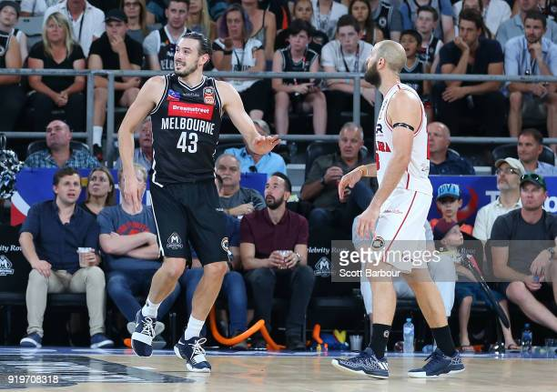 Chris Goulding of Melbourne United reacts after getting up after injuring his ankle during the round 19 NBL match between Melbourne United and the...