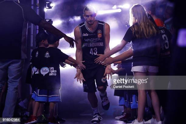 Chris Goulding of Melbourne United runs out before the round 18 NBL match between Melbourne United and the New Zealand Breakers at Hisense Arena on...