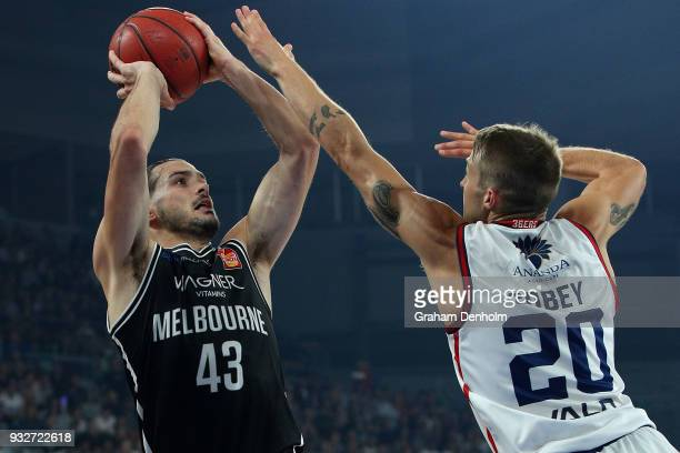 Chris Goulding of Melbourne United shoots during game one of the NBL Grand Final series between Melbourne United and the Adelaide 36ers at Hisense...