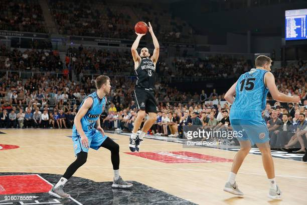 Chris Goulding of Melbourne United shoots from the arc during the round 18 NBL match between Melbourne United and the New Zealand Breakers at Hisense...
