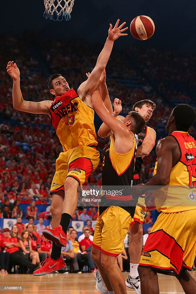 Chris Goulding of the Tigers rebounds during the round 19 NBL match between the Perth Wildcats and the Melbourne Tigers at Perth Arena on February 21, 2014 in Perth, Australia.