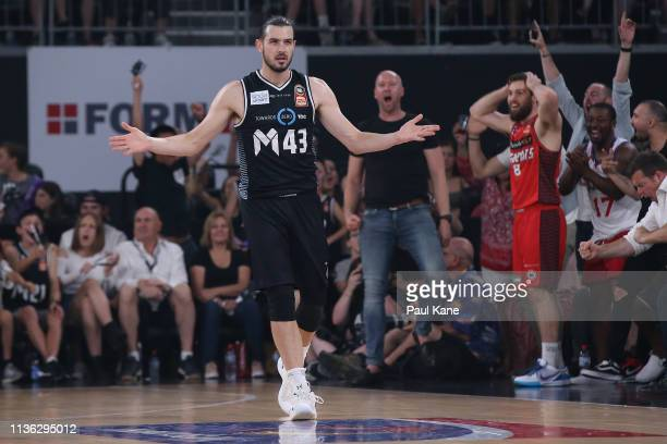 Chris Goulding of United celebrates a 3 point shot during game 4 of the NBL Grand Final Series between Melbourne United and the Perth Wildcats at...