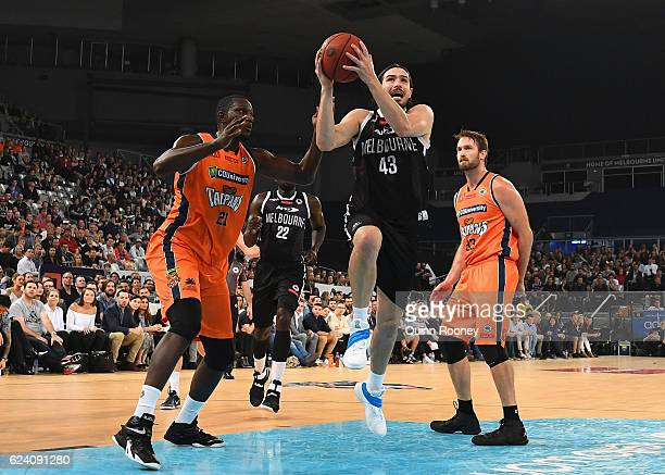 Chris Goulding of United charges for the basket during the round seven NBL match between Melbourne United and the Cairns Taipans at Hisense Arena on...