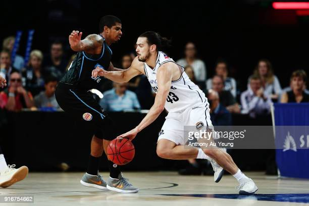 Chris Goulding of United drives against Edgar Sosa of the Breakers during the round 18 NBL match between the New Zealand Breakers and Melbourne...