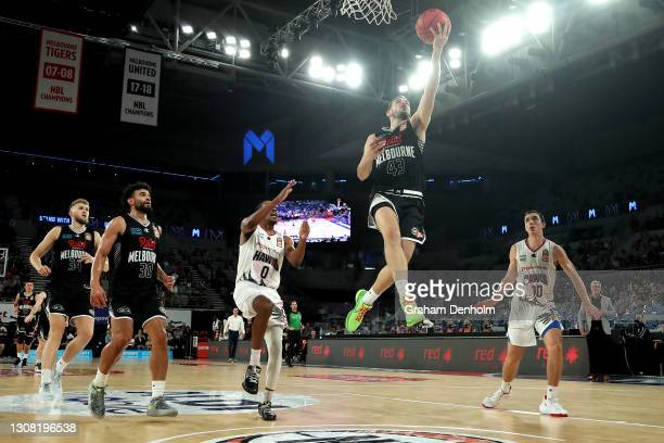 Chris Goulding of United drives at the basket during the round 10 NBL match between Melbourne United and the Illawarra Hawks at John Cain Arena on...