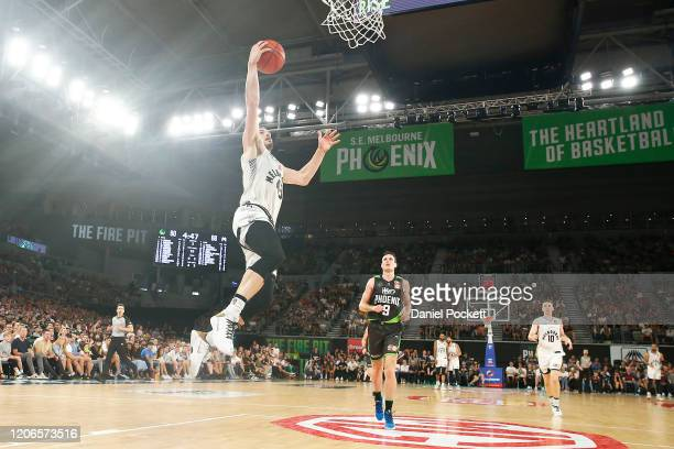 Chris Goulding of United drives to the basket on a fast break during the round 20 NBL match between South East Melbourne Phoenix and Melbourne United...