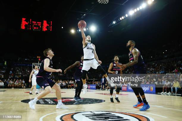 Chris Goulding of United goes to the basket during the round 16 NBL match between the New Zealand Breakers and Melbourne United at Spark Arena on...