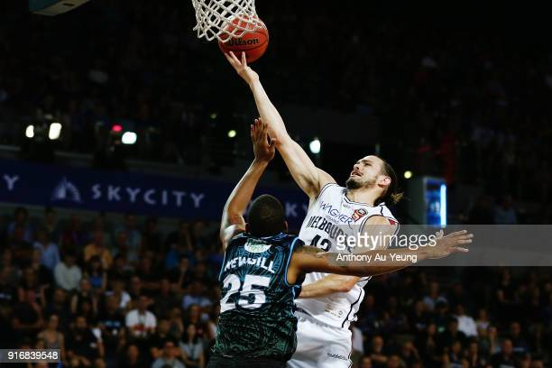 Chris Goulding of United goes up against Devonte DJ Newbill of the Breakers during the round 18 NBL match between the New Zealand Breakers and...