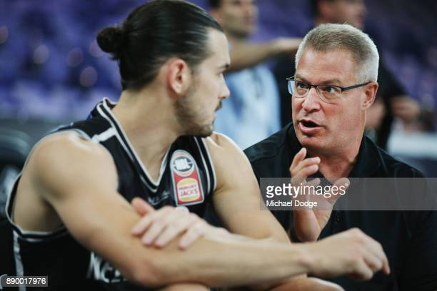 Chris Goulding of United listens to coach Dean Vickerman in the warm up during the round nine NBL match between Melbourne United and the Sydney Kings...