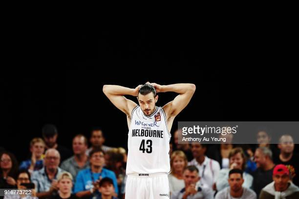 Chris Goulding of United looks on during the round 18 NBL match between the New Zealand Breakers and Melbourne United at Spark Arena on February 11...