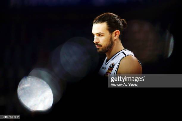 Chris Goulding of United looks on during warm up prior to the round 18 NBL match between the New Zealand Breakers and Melbourne United at Spark Arena...