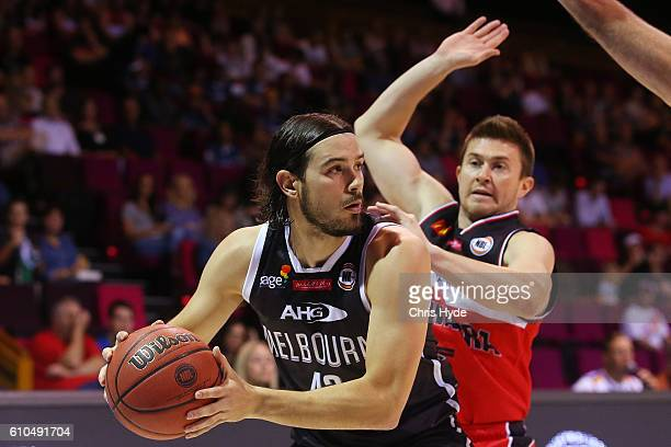 Chris Goulding of United looks to pass during the Australian Basketball Challenge match between Illawarra Hawks and Melbourne United at Brisbane...