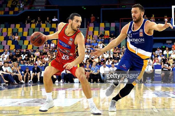 Chris Goulding of United looks to pass during the round 15 NBL match between the Brisbane Bullets and Melbourne United at Brisbane Entertainment...