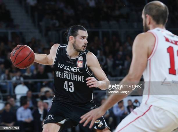 Chris Goulding of United looks up the court during the round eight NBL match between Melbourne United and the Illawarra Hawks at Hisense Arena on...