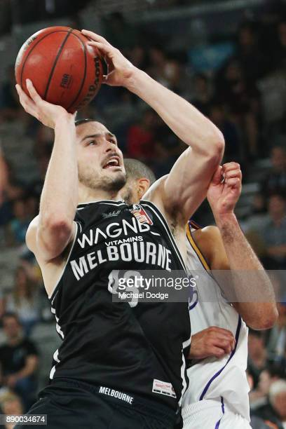 Chris Goulding of United makes a shot during the round nine NBL match between Melbourne United and the Sydney Kings at Hisense Arena on December 11...