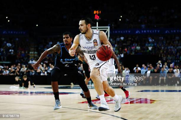 Chris Goulding of United on the drive during the round 18 NBL match between the New Zealand Breakers and Melbourne United at Spark Arena on February...