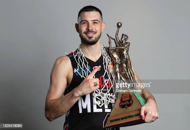 Chris Goulding of United poses following victory in game three of the NBL Grand Final Series between Melbourne United and the Perth Wildcats at John...