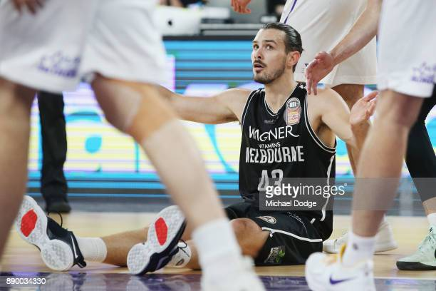 Chris Goulding of United reacts after making a shot during the round nine NBL match between Melbourne United and the Sydney Kings at Hisense Arena on...