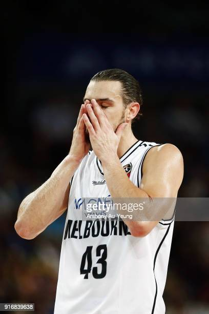 Chris Goulding of United reacts during the round 18 NBL match between the New Zealand Breakers and Melbourne United at Spark Arena on February 11...