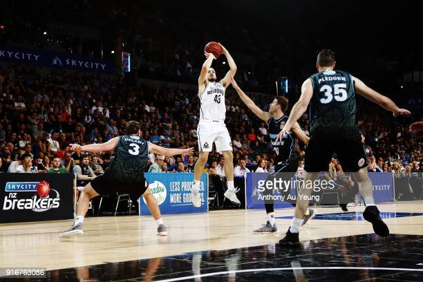 Chris Goulding of United shoots a three pointer during the round 18 NBL match between the New Zealand Breakers and Melbourne United at Spark Arena on...