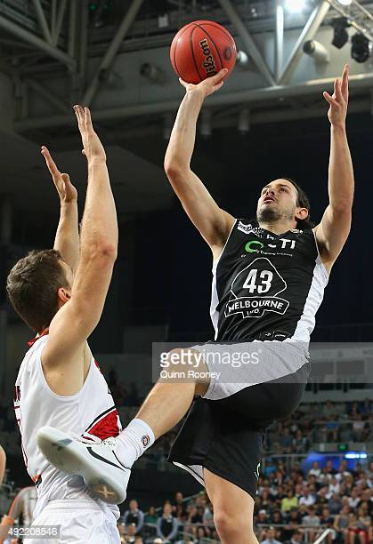 Chris Goulding of United shoots during the round one NBL match between Melbourne United and the Illawarra Hawks at Hisense Arena on October 11, 2015...