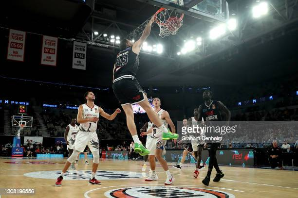 Chris Goulding of United slam dunks during the round 10 NBL match between Melbourne United and the Illawarra Hawks at John Cain Arena on March 21 in...