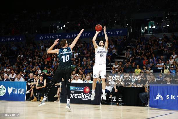 Chris Goulding of United takes a three pointer against Tom Abercrombie of the Breakers during the round 18 NBL match between the New Zealand Breakers...