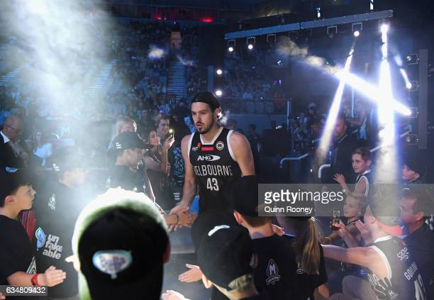 Chris Goulding of United walks out onto the field during the round 19 NBL match between Melbourne United and the Perth Wildcats at Hisense Arena on...