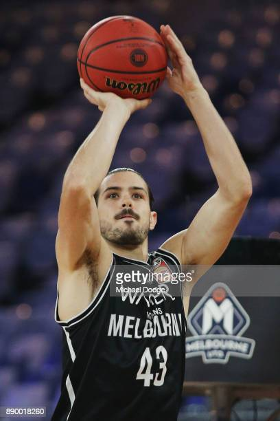 Chris Goulding of United warms up during the round nine NBL match between Melbourne United and the Sydney Kings at Hisense Arena on December 11 2017...