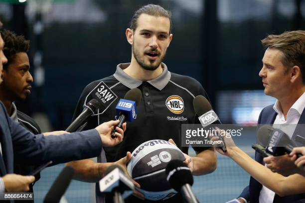 Chris Goulding speaks to the media during an Australian Open announcement at Melbourne Park on December 6 2017 in Melbourne Australia