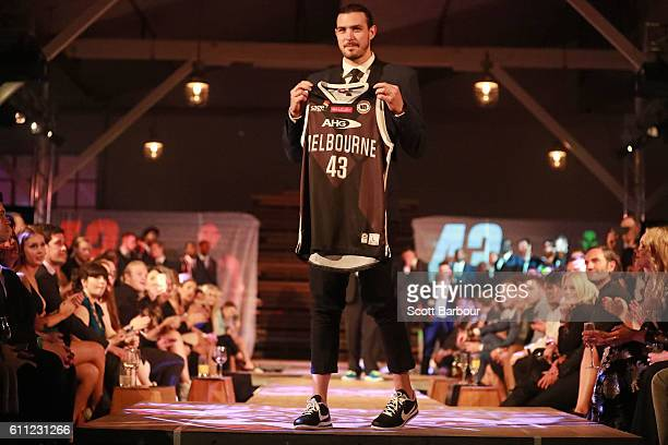 Chris Goulding walks the stage after being presented with his 2016/17 season jersey at the Melbourne United 2016/17 NBL season launch at Laurens Hall...