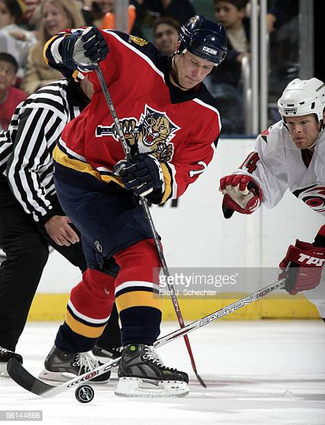 Chris Gratton of the Florida Panthers crosses sticks with Kevyn Adams of the Carolina Hurricanes at the Bank Atlantic Center on November 11 2005 in...