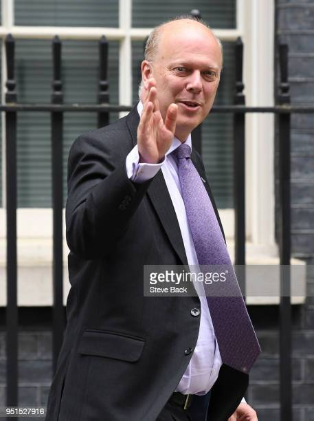 Chris Grayling British Secretary of State for Transport leaves Downing Street after a meeting with the Prime Minister on April 26 2018 in London...