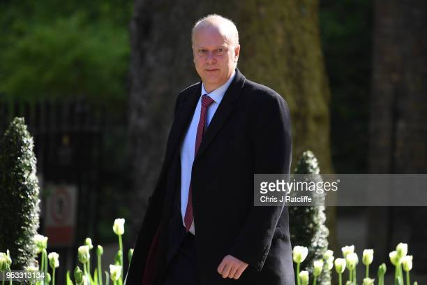 Chris Grayling Secretary of State for Transport attends the first cabinet meeting following the ReShuffle at Downing Street on May 1 2018 in London...