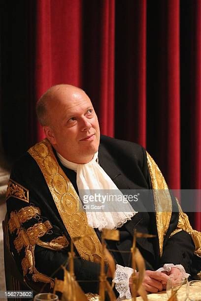Chris Grayling the Justice Secretary listens to the speeches in the Guildhall during The Lord Mayor's Banquet on November 12 2012 in London England...