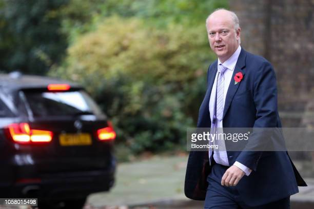 Chris Grayling UK transport secretary arrives for a weekly meeting of cabinet ministers at number 10 Downing Street in London UK on Tuesday Nov 6...