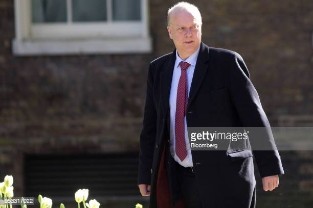 Chris Grayling UK transport secretary arrives for a weekly meeting of cabinet ministers at number 10 Downing Street in London UK on Tuesday May 1...