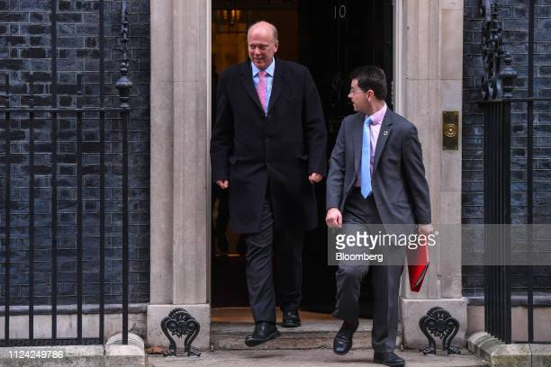 Chris Grayling UK transport secretary left and James Brokenshire UK communities secretary depart number 10 Downing Street following a weekly meeting...