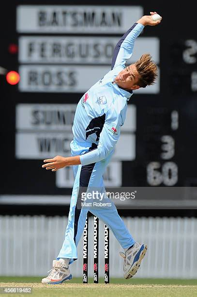 Chris Green of the Blues bowls during the Matador BBQs One Day Cup match between New South Wales and South Australia at Allan Border Field on October...