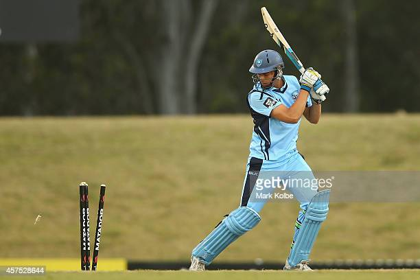 Chris Green of the Blues is bowled during a Matador BBQs One Day Cup match between New South Wales and Tasmania at Blacktown International Sportspark...
