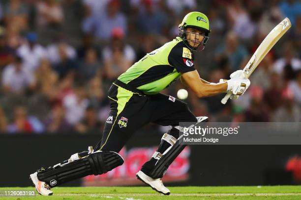 Chris Green of the Thunder bats during the Big Bash League match between the Melbourne Renegades and Sydney Thunder at Marvel Stadium on January 30...