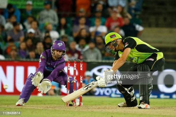Chris Green of the Thunder bats during the Big Bash League match between the Sydney Thunder and the Hobart Hurricanes at Manuka Oval on February 09...