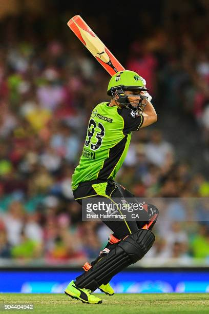 Chris Green of the Thunder bats during the Big Bash League match between the Sydney Sixers and the Sydney Thunder at Sydney Cricket Ground on January...