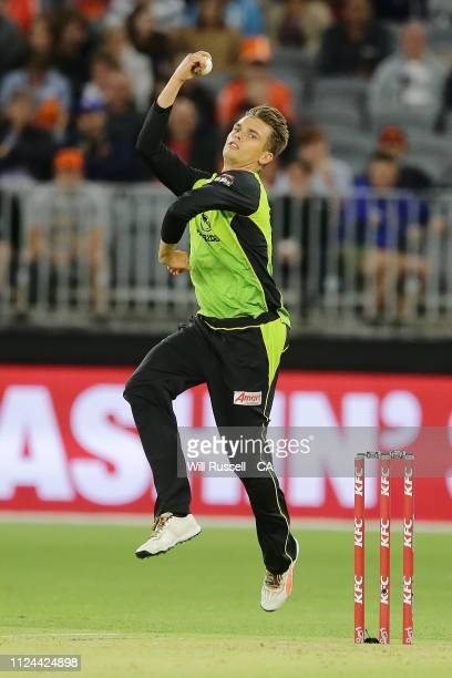 Chris Green of the Thunder bowls during the Big Bash League match between the Perth Scorchers and the Sydney Thunder at Optus Stadium on January 24...