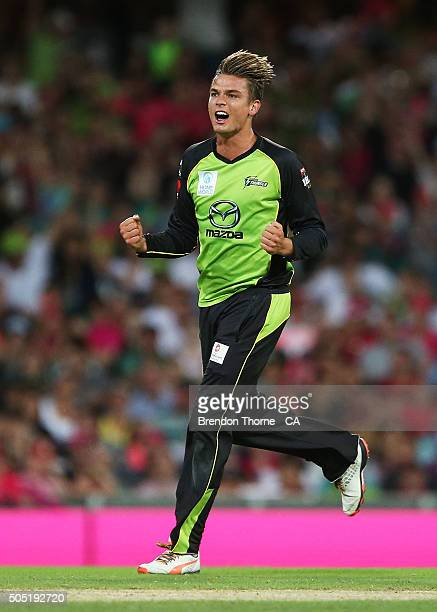 Chris Green of the Thunder celebrates after claiming the wicket of Nathan Lyon of the Sixers during the Big Bash League match between the Sydney...