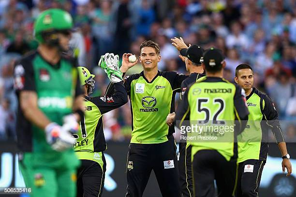 Chris Green of the Thunder celebrates after taking a catch to dismiss Kevin Pietersen of the Stars during the Big Bash League final match between...