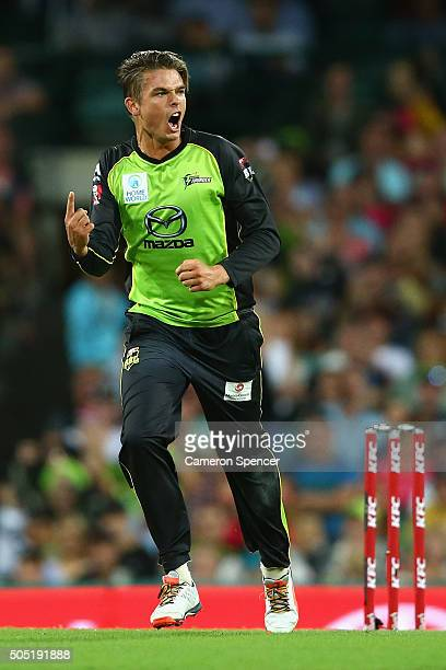 Chris Green of the Thunder celebrates dismissing Brad Haddin of the Sixers during the Big Bash League match between the Sydney Sixers and the Sydney...