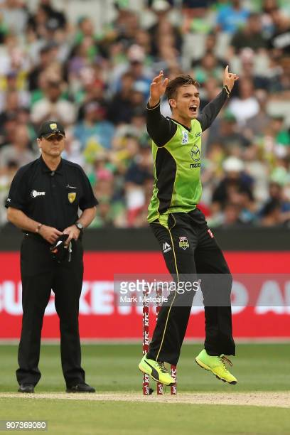 Chris Green of the Thunder celebrates taking the wicket of James Faulkner of the Stars during the Big Bash League match between the Melbourne Stars...